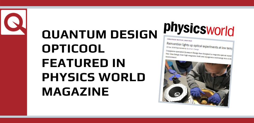 Physics World magazine features Quantum Design OptiCool