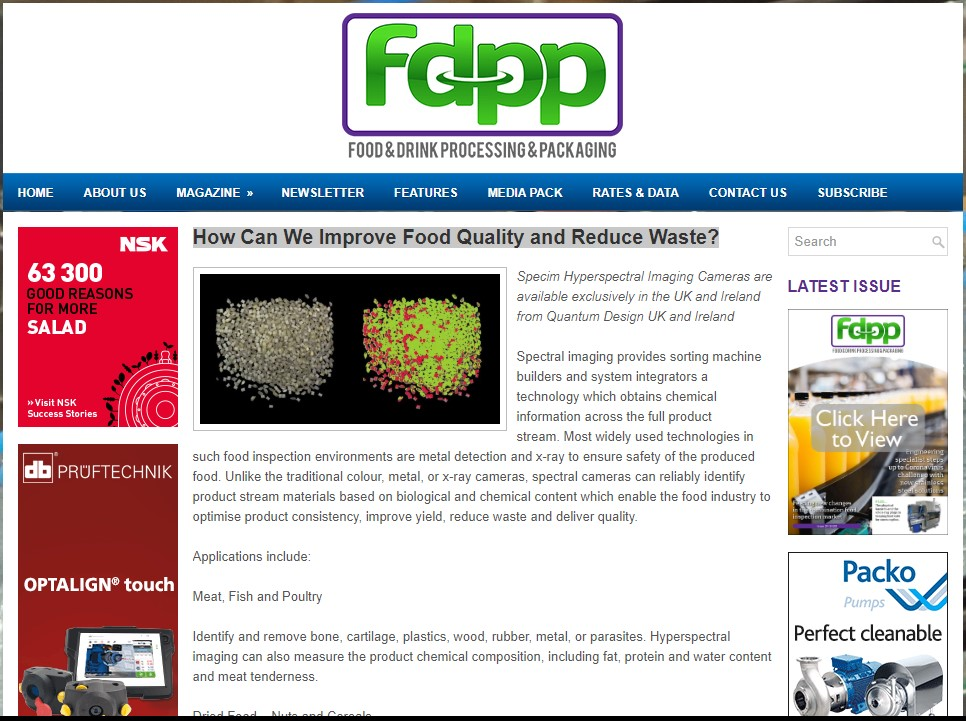 Food & Drink Processing and Packaging magazine features Specim and Quantum Design UK and Ireland
