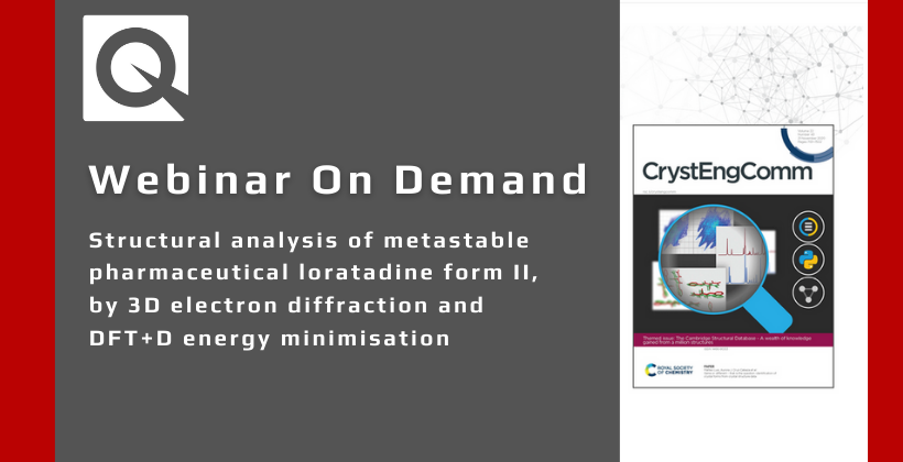 Webinar:  Structural analysis of metastable pharmaceutical loratadine form II, by 3D electron diffraction and DFT+D energy minimisation